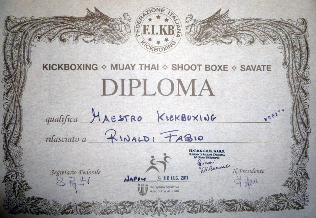 DIPLOMA MAESTRO KICK BOXING FIKBMS, FABIO RINALDI
